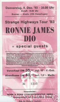 Tapio S Ronnie James Dio Pages Strange Highways Tour Dates