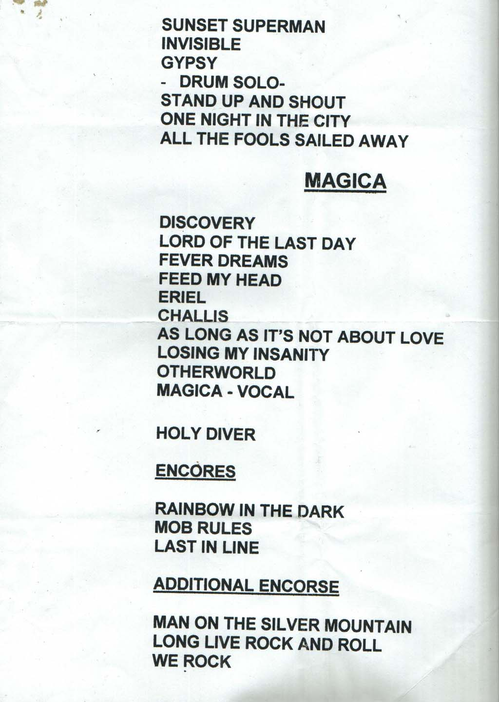 The coloring book tour setlist - Click Here For Setlist Picture